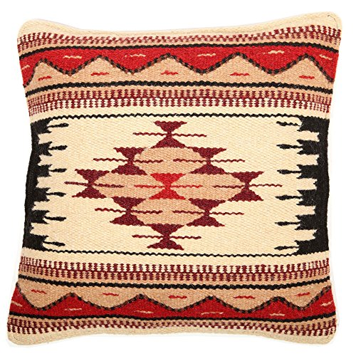 El Paso Designs Throw Pillow Covers, 18 X 18, Hand Woven in Southwest and Native American Styles. Hand Crafted Western Decorative Pillow Cases in Wool. (Tesoro ()