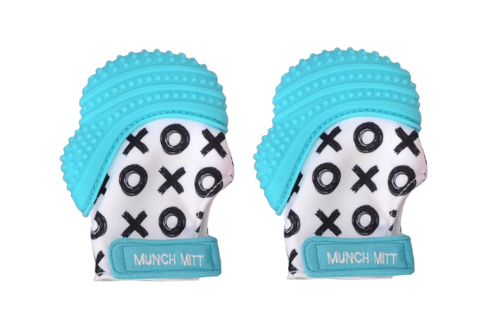 Munch Mitt Trendy Collection Teething Mitten- Original Mom Invented Teething Toy- Teether Stays on Babys Hand for Pain Relief- Ideal Baby Shower Gift with Handy Travel/Laundry Bag- 2 pk Aqua Blue XO