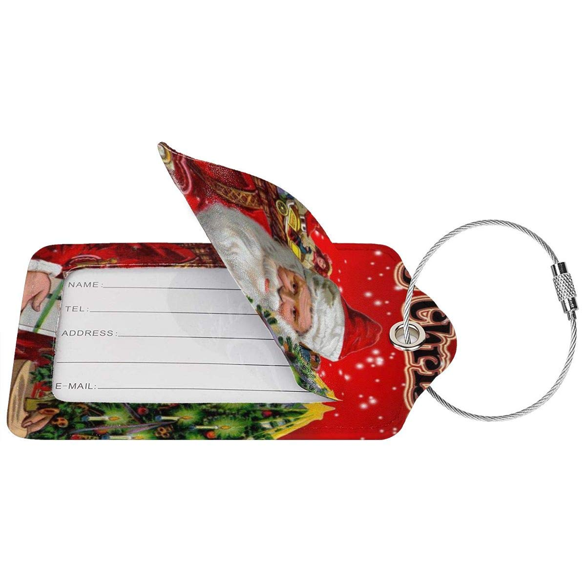 Retro Santa Claus Xmas Tree Ribbon Bow Bell Leather Luggage Tags Personalized Privacy Cover With Privacy Flap