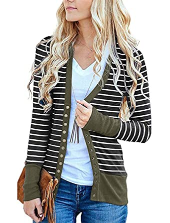 575ef5f99b Spring Cardigan Sweaters for Women Long Sleeve Striped Snap Button Down  Cardigans Small 07-Army