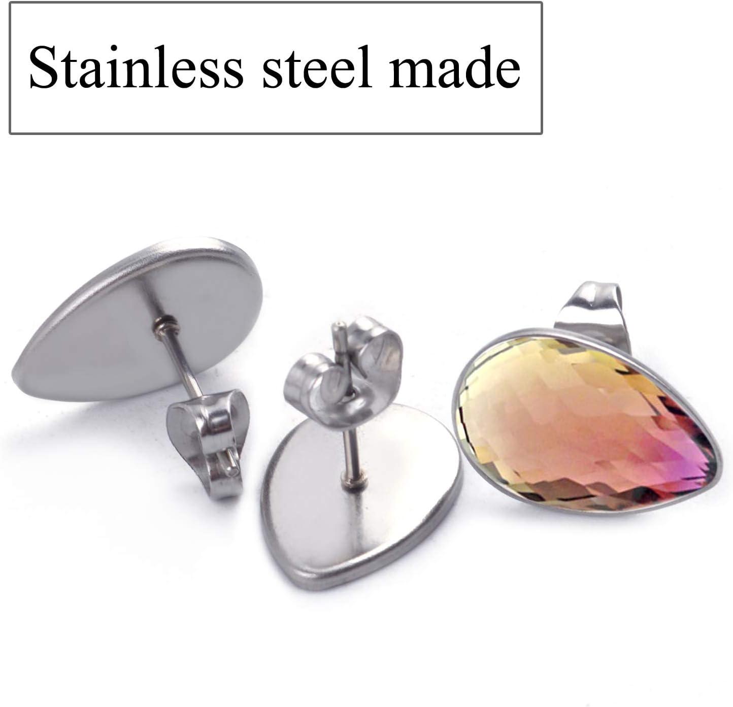 40x Ear Studs Blank Bezel Setting DIY Earrings Jewelry Crafts Silver/& Bronze