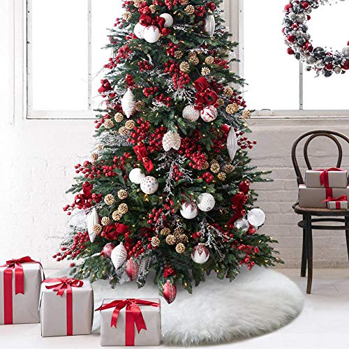 (O-heart 48 inches Christmas Tree Skirt, Upgrade Thick Snow White Faux Fur Tree Skirts Decorations for Xmas New Year Party Home Decor Pet Favors)