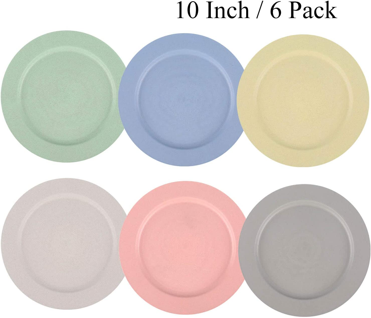 10 Inch Wheat Straw Plates - Reusable & Unbreakable Plate Set of 6 - Dishwasher & Microwave Safe - Perfect for Dinner Dishes - Healthy for Kids & Adult, Lightweight, BPA Free & Eco-Friendly (6 Color)