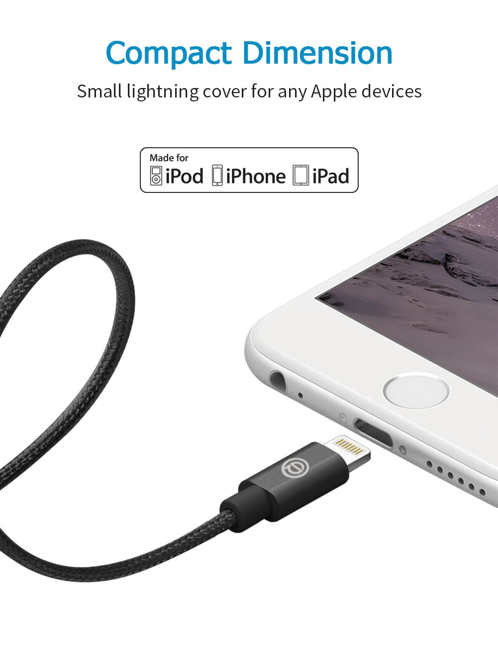 USB Cargador Cable OPSO Lightning Nailon Trenzado 1M [Certificato Apple MFi] para iPhone 7 6s 6 Plus SE 5s, iPad Pro, iPad mini, iPod touch / nano- Negro