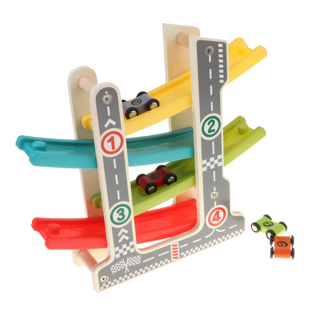 Wooden 4-Layer Zig Zag Race Track Car Ramp Racer with 4 Mini Cars Kids Toddler Early Developmental Toy Gift