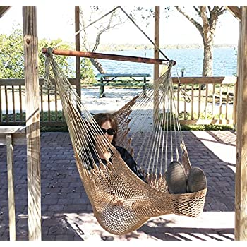 Mayan Hammock Chair   Large Cotton Rope Hanging Chair Swing With Wood Bar    Comfortable,