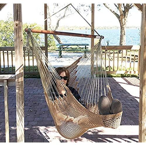 mayan hammock chair   large cotton rope hanging chair swing with wood bar    fortable lightweight   for indoor  u0026 outdoor porch yard patio and bedroom     hanging chairs for bedrooms  amazon    rh   amazon