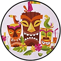 Printing Round Rug,Luau,Three Grimacing Tiki Party Masks Surrounded by Leaves Drinks and Cute Toucan Birds Mat Non-Slip Soft Entrance Mat Door Floor Rug Area Rug For Chair Living Room,Multicolor