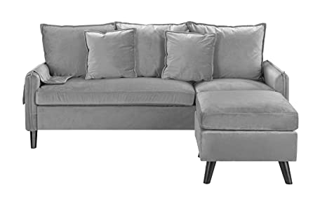 Classic Living Room Velvet Sectional Sofa, L-Shape Couch with Pocket Organizer (Light Grey)