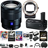 Sony 24-70mm f/4 Zoom Lens w/ VGC1EM Battery Grip & LAEA3 Mount Adapter Bundle