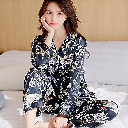 Wanglele Pijama Mujer Sección Delgada De Primavera Y Otoño De Manga Larga De Dos Piezas De