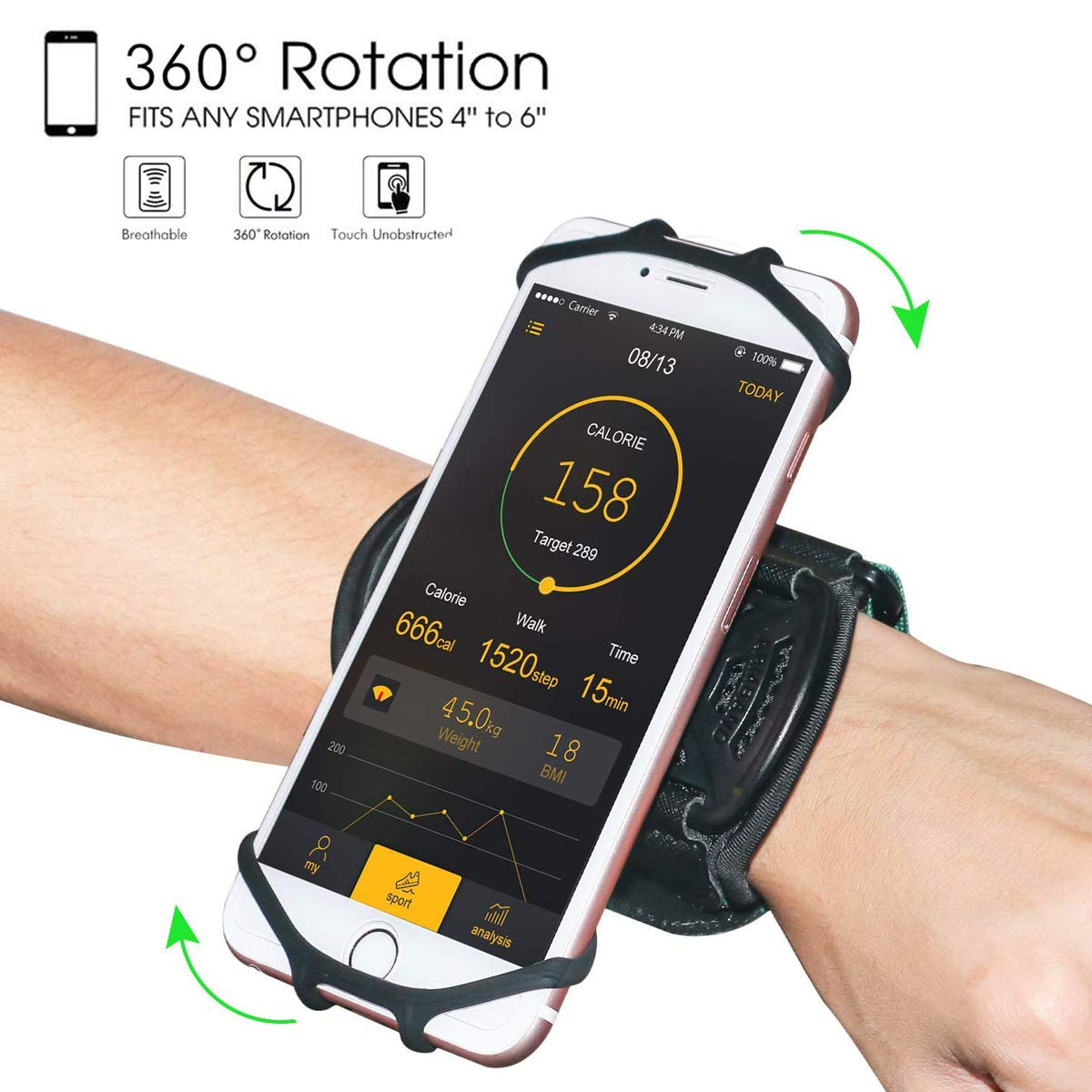 Wristband Phone Holder,HC 360°Rotatable Universal Sports Wristband for iPhone X/8 Plus/8/7/6s,Galaxy S9 Plus/S9/S8 & Other 4''-6.5''Smartphone,Running Armband for Hiking Biking Walking (Wrist) by HC electronic