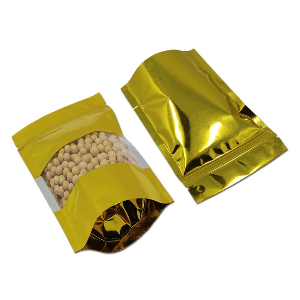 14 x 20 cm クリア ゴールド 収納袋 自立袋 ヒートシール キッチン収納 アルミ箔 スナックバッグ マイラー ジップロックポーチ 食品保存用バッグ 包装袋 ナッツコーヒー 豆 透明プラスチック 窓ポーチ (500) B07G221SX8  500