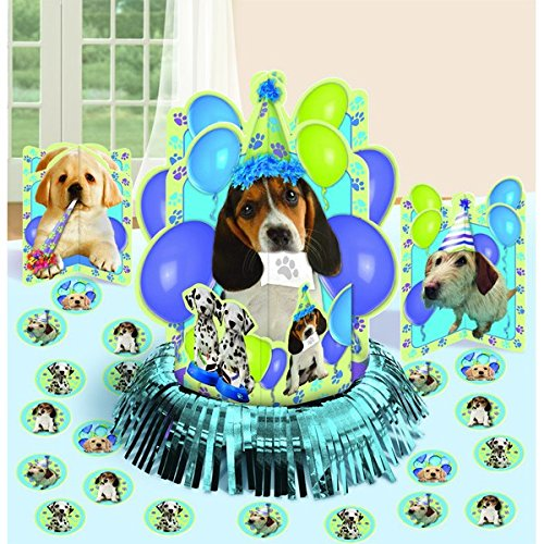"Cute Party Pups Table Decorating Kit Birthday Party Decorations,13.7"" x 11.5"", Pack of 23."