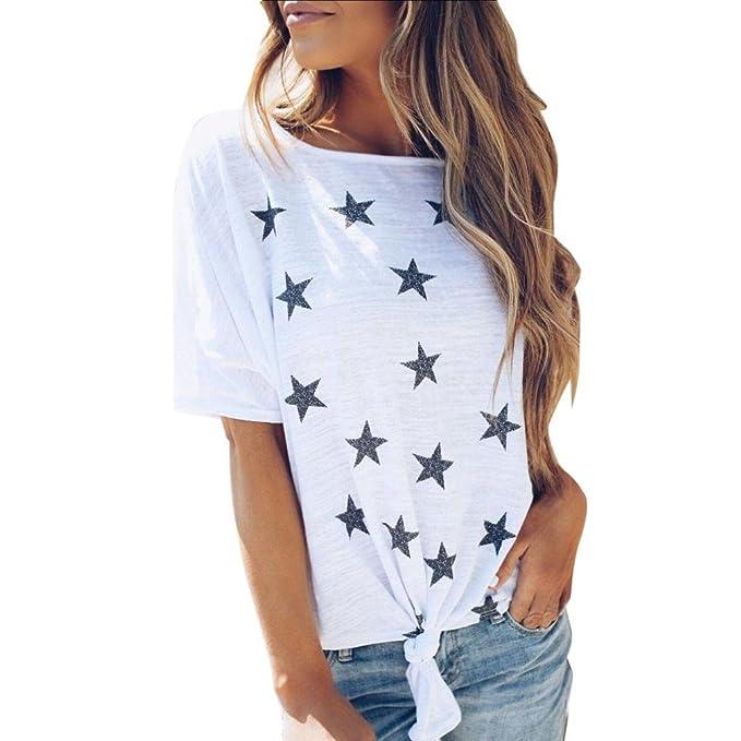 Camisetas Mujer Manga Corta Casual Blusas para Mujer Verano Manga Corta Moda Camisetas Casual Mujer AIMEE7