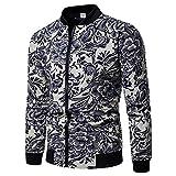 Beautyfine Men Plus Size Zipper Pullover Sweatshirt Fashion Printed Casual Long Sleeve Tops Blouse