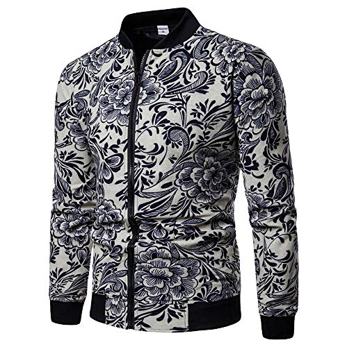 Beautyfine Men Plus Size Zipper Pullover Sweatshirt Fashion Printed Casual Long Sleeve Tops Blouse by Beautyfine