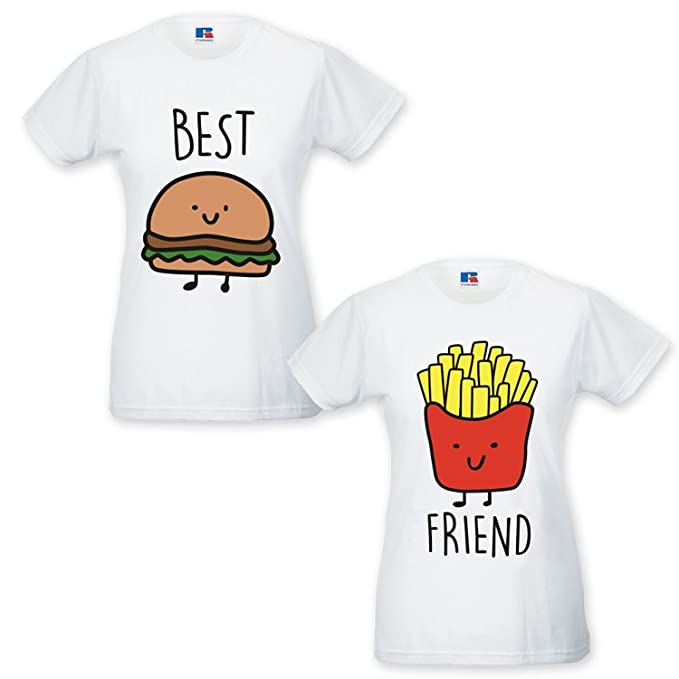 66d223343abf2a Coppia di T Shirt Magliette You And Me Best Friend Hamburger e Patatine  Bianche Donna Best