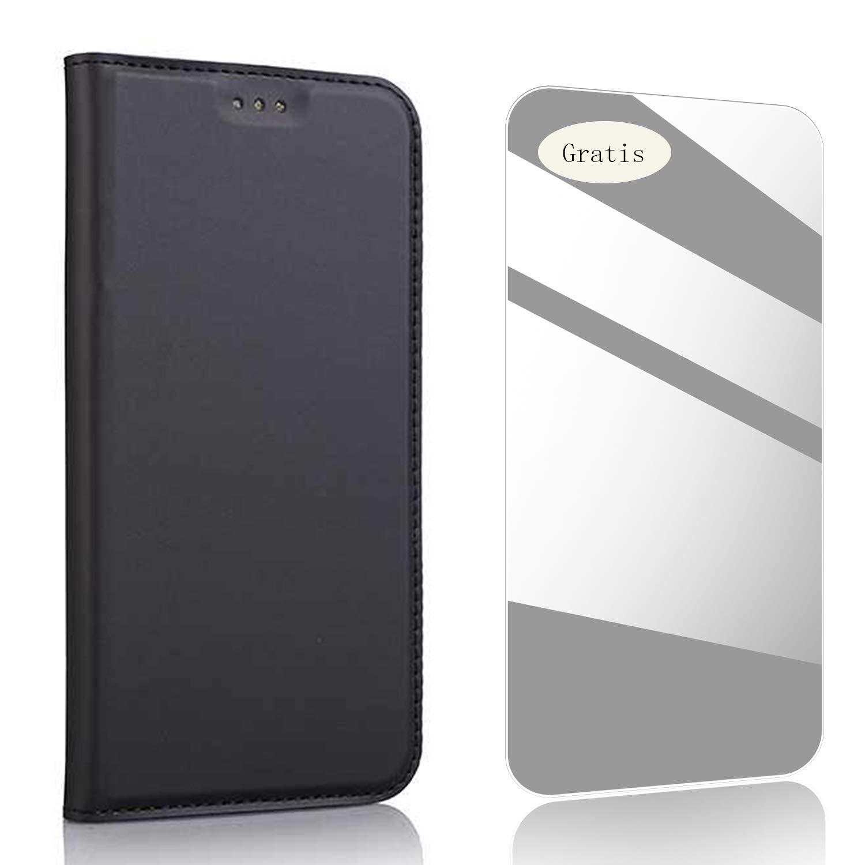 THRION Coque Sony Xperia Z5, Housse en Cuir Premium Flip Case Portefeuille Etui[Ecran de Protection en Verre Trempé] pour Sony Xperia Z5 - Or Rose