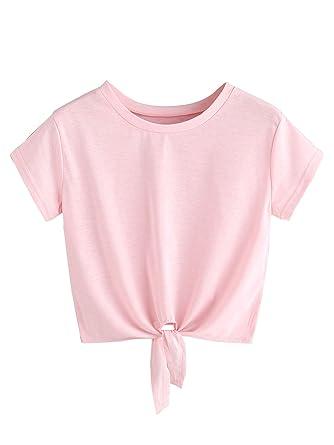 0e79d20170a8c7 MAKEMECHIC Women s Summer Crop Top Solid Short Sleeve Tie Front T-Shirt Top  Sakura Pink