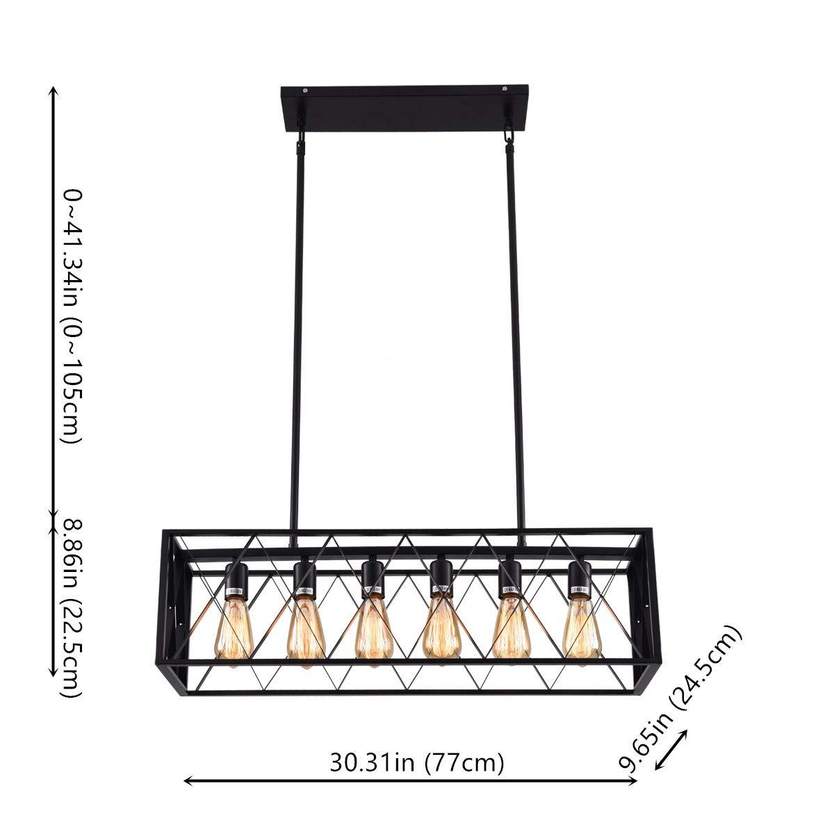 mirrea Vintage Pendant Light Fixture 6 Lights in Rectangle Frame Shade Matte Metal Black Painted Finish