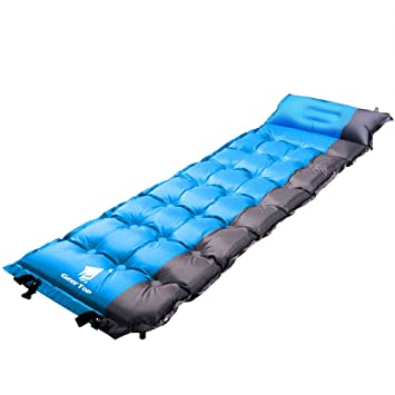 GEERTOP 2in Extra Thick Lightweight Self Inflating Camp Pad Mat Mattress With Pillow For Camping