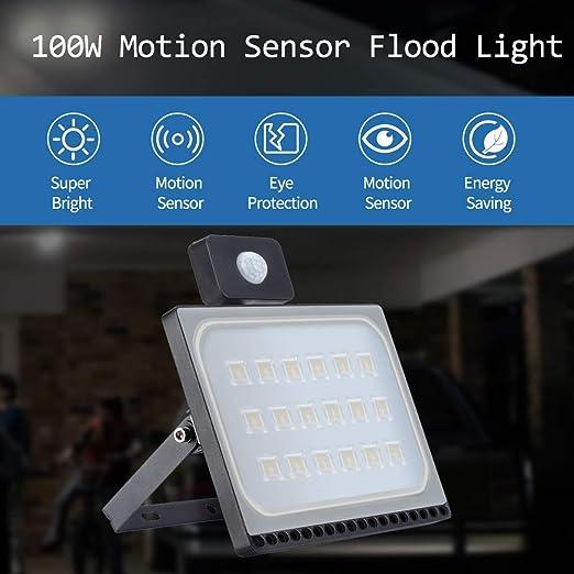 100W 8000LM Foco LED con Sensor Movimiento, Super Brillante ...