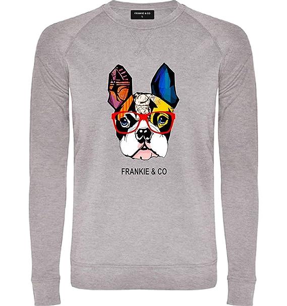 FRANKIE & CO Sudadera de Hombre Gris Bulldog Francés - 100% algodón - Tallas S M L