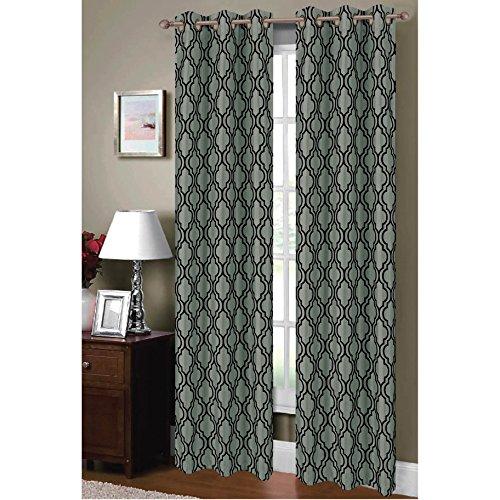 Window Elements Lattice Flocked Faux Silk 76 x 84 in. Grommet Curtain Panel Pair, Teal/Black
