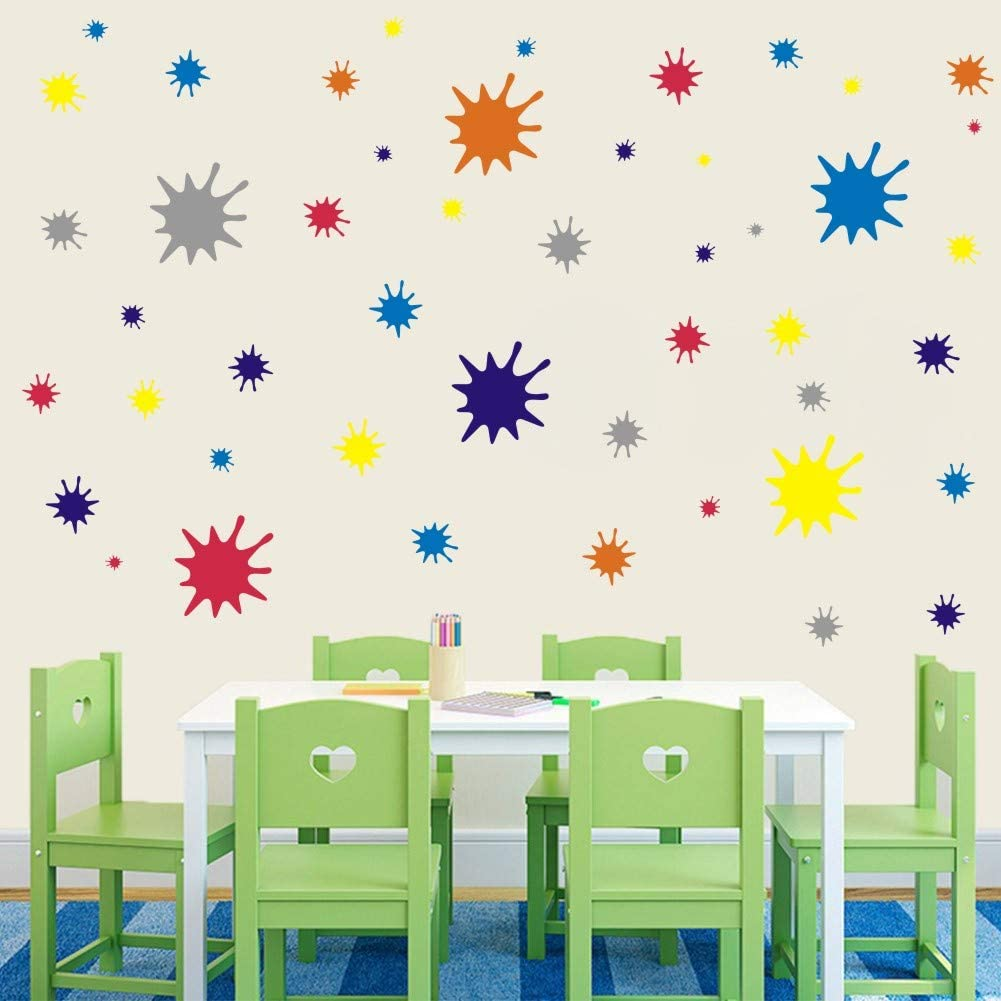 IARTTOP Paint Splatter and Splotches Wall Decal 120 pcs Multicolor Decals Abstract Dots Wall Sticker for Art Room Decoration Colorful Decal for Nursery Room