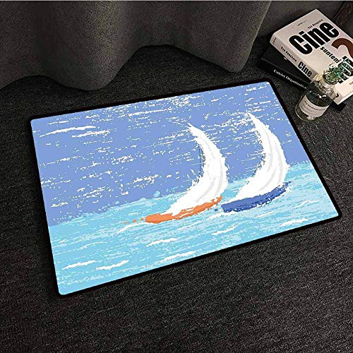 Reversible Patio Mat Racing - Rug Bathroom Mat Nautical,Grunge Style Illustration of Two Racing Sailboats in A Windy Ocean Water Print,Pale Blue,W31 xL47 American Floor mats