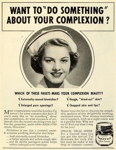 1941-ad-noxema-dry-skin-cream-complexion-medication-nurse-acne-pimples-zits-original-print-ad