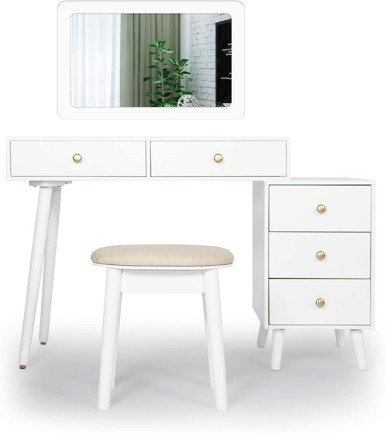Amazon Com Makeup Vanity Set With Mirror And Drawers Chest Vanity Table For Women Girls Bedroom Makeup Dressing Table With Cushioned Stool White Kitchen Dining