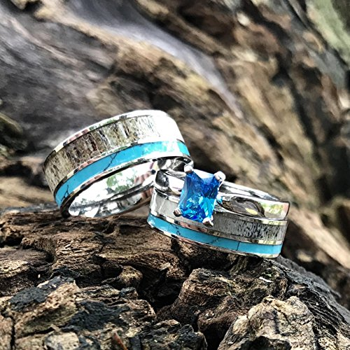 3 pc Natural Deer Antler Ring with Turquoise Inlay Engagement ring Mens Womens Wedding Ring Set Stainless Steel Sterling Silver Band by KingswayJewelry (Image #1)
