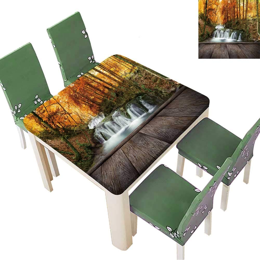 Printsonne Indoor/Outdoor Autumn Creek Woods with Yellow Trees Foliage and Rocks in Forest Mountain and Wood pier Kitchen Tablecloth Picnic Cloth 23 x 23 Inch (Elastic Edge)