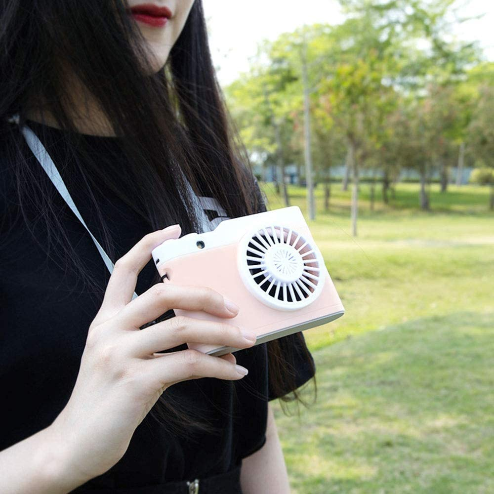 USB Fan Mini Camera Handheld Fan 3 Speed USB Hand Held Personal Fans Rechargeable Battery 1800mAh Powered Pocket Fan for Outdoor 3 Colors Color : Pink, Size : Free Size