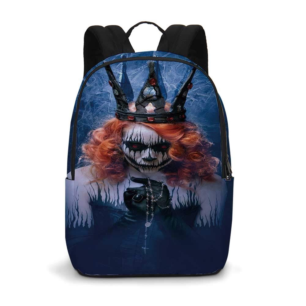 """Queen Modern simple Backpack,Queen of Death Scary Body Art Halloween Evil Face Bizarre Make Up Zombie for school,11.8""""L x 5.5""""W x 18.1""""H"""