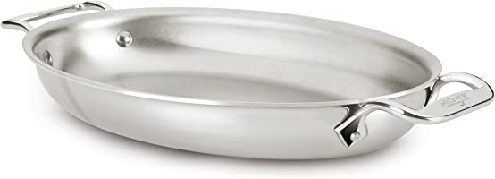 All-Clad 4612 Stainless Steel Tri-Ply Bonded Dishwasher Safe Oval Au Gratin Pan/Cookware, Silver
