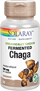 Solaray Organically Grown Fermented Chaga Mushroom 500 mg | Healthy Immune Function Support | 30 Servings | 60 VegCaps