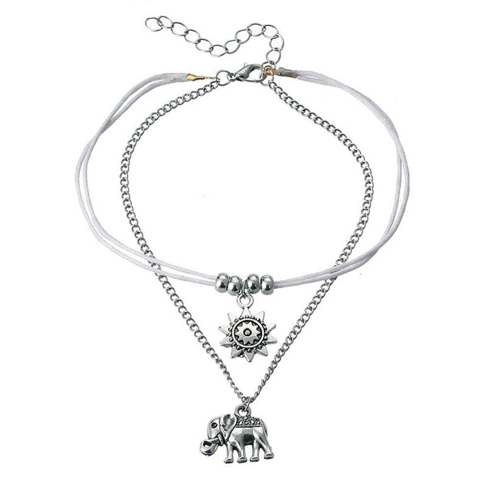 Bracelet de cheville rétro avec motif d'un éléphant - Bracelet de cheville tendance - Chaîne de cheville - Accessoires de pied - Bijoux de plage pour femmes et filles TIANXIN Leather