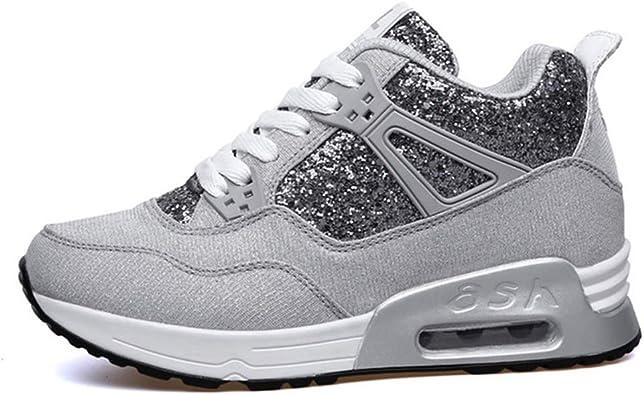 Womens Casual Sport Shoes Primavera Otoño Moda Negro Gris Transpirable Plataforma Zapatos Cuñas Lace up Zapatillas de Deporte Ligeras: Amazon.es: Zapatos y complementos