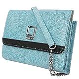 Lencca Nikina Vegan Leather Crossbody Smartphone Clutch Wallet Purse with Removable Chain Shoulder Strap - Sky Blue