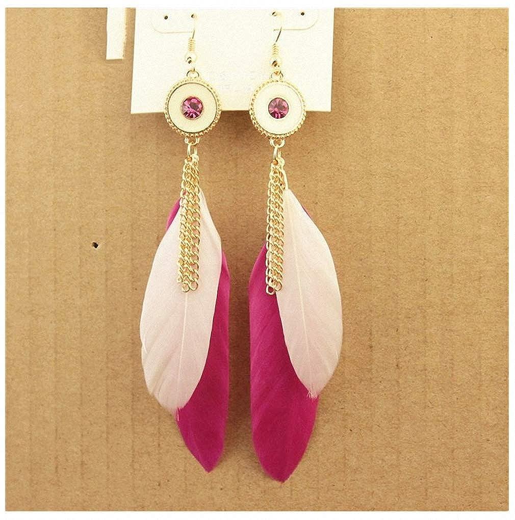 Womens Drop Dangle Earrings Handmade Elegant Feather Drop Earrings for Women Accessories Fashion Party Jewelry for Girl Dangle Long Earrings W01-24