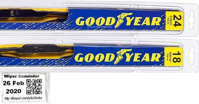 1989-1992 Mazda MPV Goodyear Hybrid Style Wiper Blade Set of 2