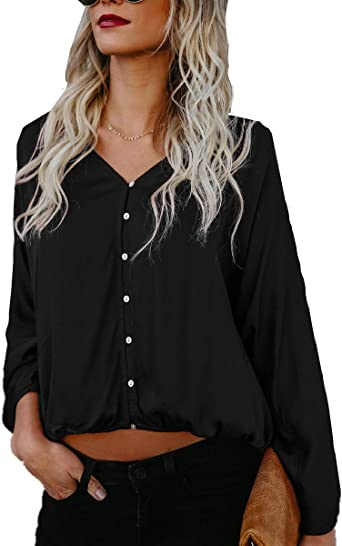 OMZIN Womens Solid Color Elegant Simple Casual Shirt Blouse Tops