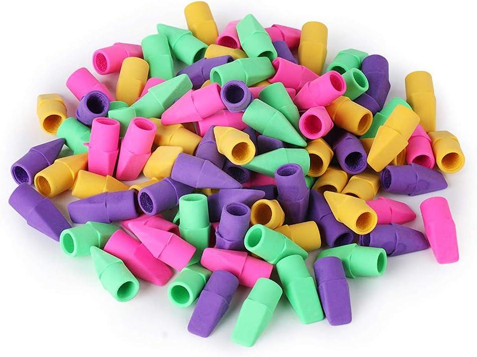 Pencil Cap Erasers Pencil Erasers Pencil Cover Erasers School Stationery Art Painting Tool Random Color 100pcs