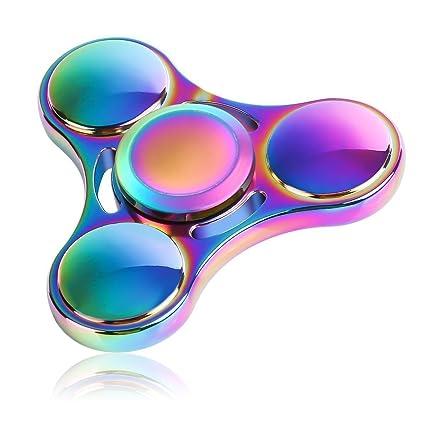 Fnova Fidget Spinner Rainbow Anti Anxiety Metal Toy Colorful Hand
