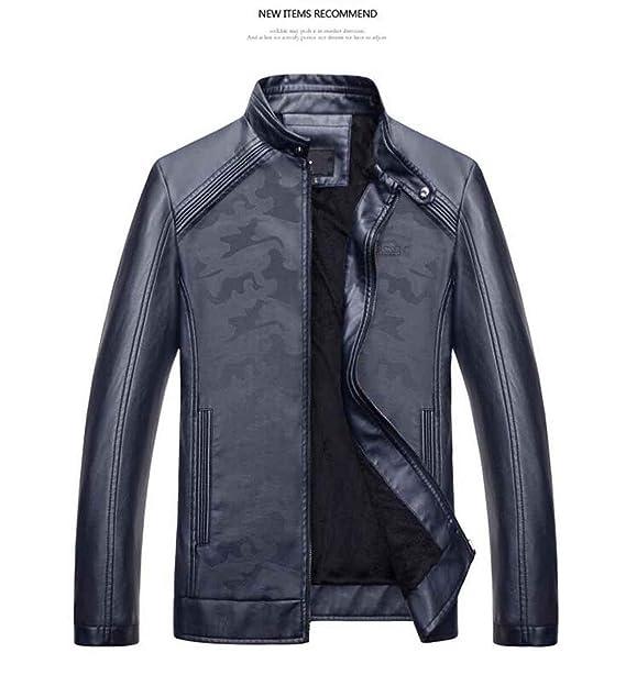 chaqueta cuero hombre invierno moto, dark blue, xxxl: Amazon.es: Ropa y accesorios