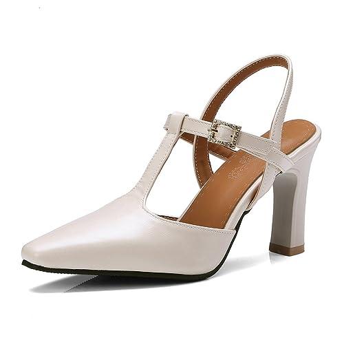15c1cb9dd4c5e OALEEN Escarpins Salomé Femme Talon Haut Bride Arrière Strass Chaussures  Sandales Soirée Beige 32