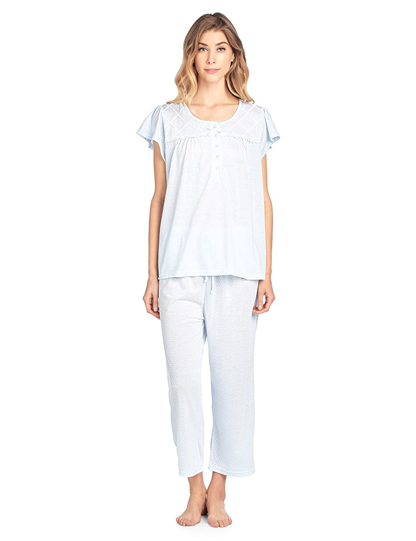 Casual Nights Women's Short Sleeve Capri Pajama Set